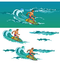 Surfing man on surfboard on sea waves vector
