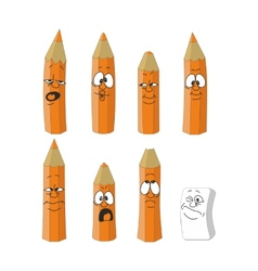 Cartoon emotional orange pencils set color 14 vector
