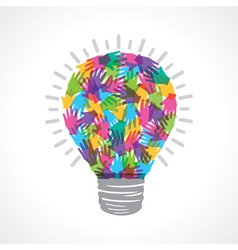 Creative light-bulb of colorful helping hand vector
