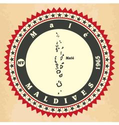 Vintage label-sticker cards of maldives vector