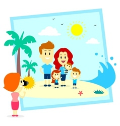 Family fun photo shoot at the beach vector