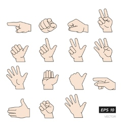 Set of flat line hands isolated on vector