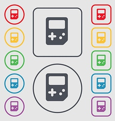 Tetris icon sign symbol on the round and square vector