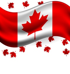 Canada flag with maple flying for celebrate the vector