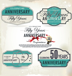 50 years anniversary retro labels vector