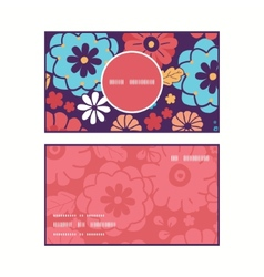 Colorful bouquet flowers vertical round vector