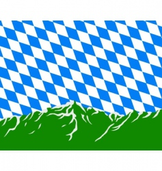 Mountains with flag of bavaria vector