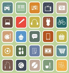 Hobby flat icons on green background vector