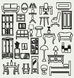 Interior icons flat doodle furniture and interior vector