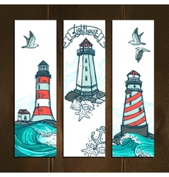 Lighthouse banner set vector