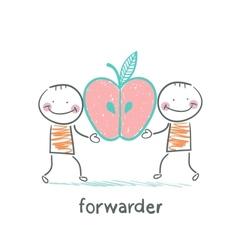 Forwarder is holding an apple vector