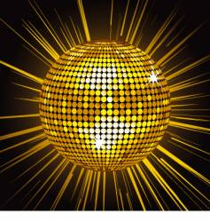 Gold mirror ball vector