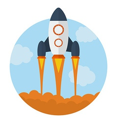 Icon of flying rocket start up symbol flat style vector