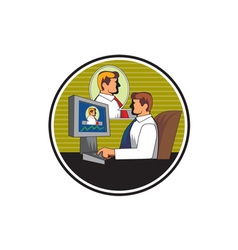 Businessman video conference retro vector