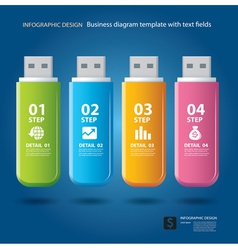 Business step and numbers design on thumb drive vector