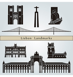 Lisbon landmarks and monuments vector