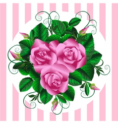 Retro bouquet with roses rosebuds and leaves vector