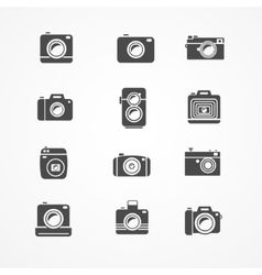 Photo camera retro and new icon set vector