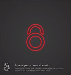 Lock outline symbol red on dark background logo vector