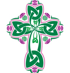Image celtic cross with flowers thistle vector
