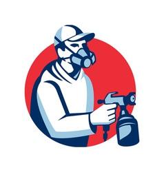 Spray painter spraying paint gun retro vector