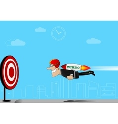 Businessman flying to target vector