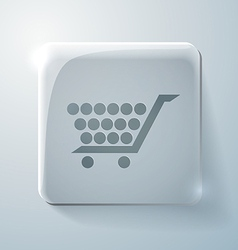 Glass icon with highlights cart online store vector