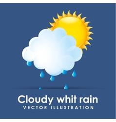 Cloudy whit rain vector