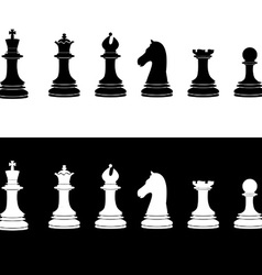 Black and white chess pieces vector
