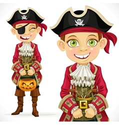 Cute boy dressed as pirate trick or treat vector