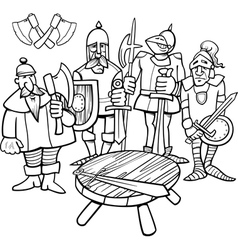 Knights of the round table coloring page vector