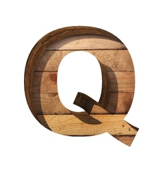 Wooden cutted figure q paste to any background vector