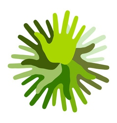 Green hand print icon vector