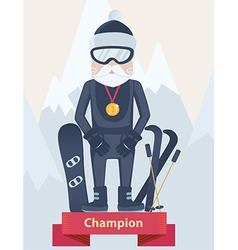 Senior man winter sports champion concept vector