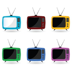 Old television in six colors with antenna vector