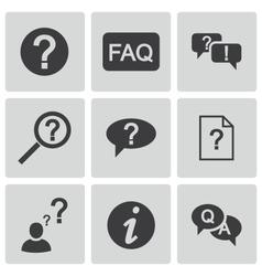 Black faq icons set vector