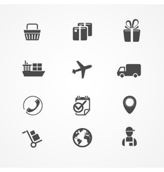 Shipping logistics and cargo icon set vector