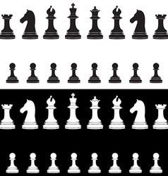 Black and white chess pieces full collection vector