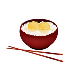 Bowl of white rice with raw egg vector