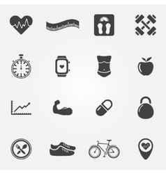 Fitness black icons set vector