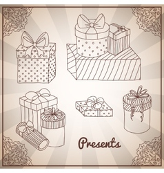 Set of doodle hand drawing presents and gifts vector