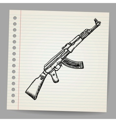 Assault rifle ak47 doodle style vector