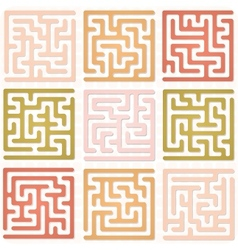 Set of maze for kids vector