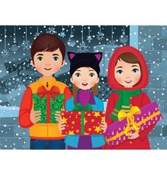Children enjoyed a christmas vector
