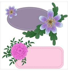 Tags with garden flowers vector