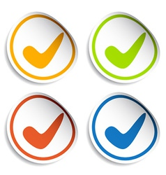 Positive checkmark stickers vector