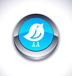 Bird 3d button vector