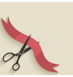 Scissors cut red ribbon vector