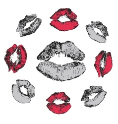 Set of grunge kisses vector