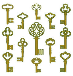 Antique bronze keys with patina decor vector